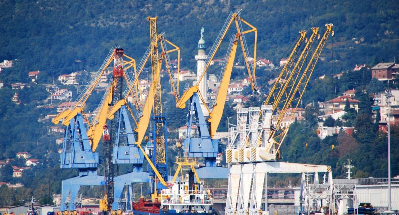 trieste, harbor, port, sea crane, adriatic, vessel, adriatic sea, cargo, architecture, italy, europe, dock, pier, industrial, cranes, lighthouse, harbour, ship, industry, seafront, sea, boat, terminal, crane, city